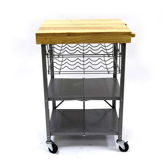 RBT-04 + R-KC-01 Origami Kitchen Island Bar Cart with Double Wine Rack 10