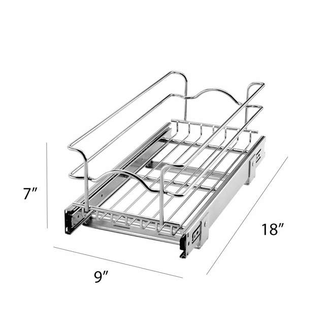 3 x 5WB1-0918-CR-U-A Rev A Shelf 9 x 18 Inch Cabinet Pull Out Basket, Chrome (Open Box) (3 Pack) 1