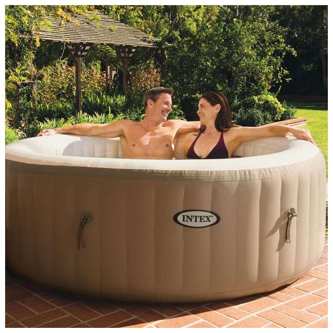 28403E + 28501E + 28523E Intex PureSpa 77 Inch 4 Person Inflatable Hot Tub Spa with Headrest & Cover 2