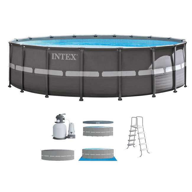 """26331EH + QLC-42003 Intex 18' x 52"""" Ultra Frame Above Ground Pool with Sand Pump & Chemical Cleaning Kit 1"""