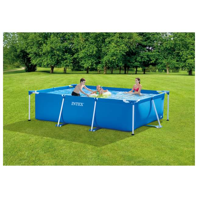28270E Intex 9.8' x 6.5' x 2.4' Rectangular Frame Above Ground Swimming Pool, Blue 3
