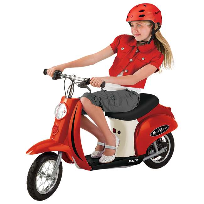 15130656 + 97778 Razor Pocket Mod (Red) & Youth Sport Helmet (Black) 1
