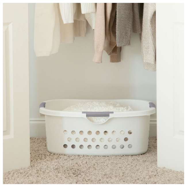 589132-3PK IRIS 589132 Comfort Carry White Plastic Lightweight Laundry Basket, Pack of 3 4