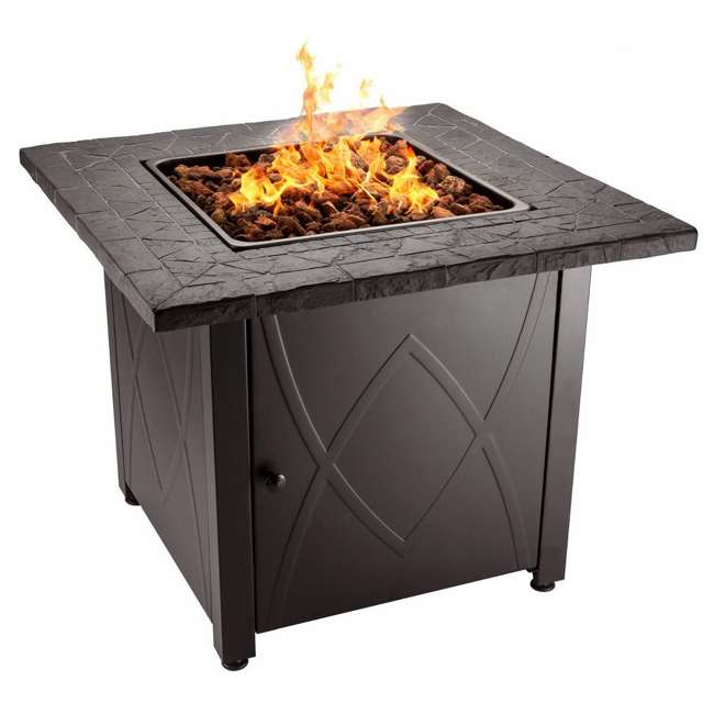 GAD1418M Endless Summer 30 inch Outdoor Gas Lava Rock Patio Fire Pit, Brown (2 Pack) 1