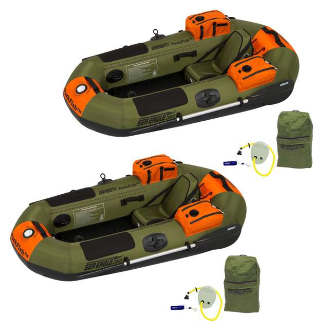 PF7-DELUXE Sea Eagle PackFish7 Deluxe Frameless Inflatable Fishing Boat (2 Pack)