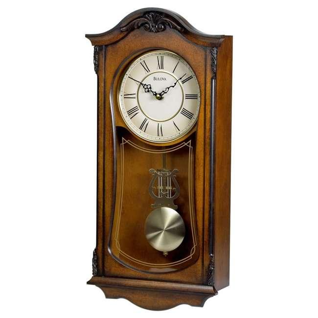 C3542 Bulova Clocks Cranbrook Wall Mount Analog Wooden Chiming Clock, Brown