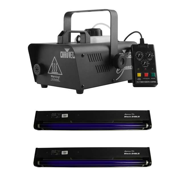 H1200 + 2 x BLACK-24BLB CHAUVET DJ Hurricane 1200 1L Fog Machine + Black Light Tube and Fixture (2 Pack)