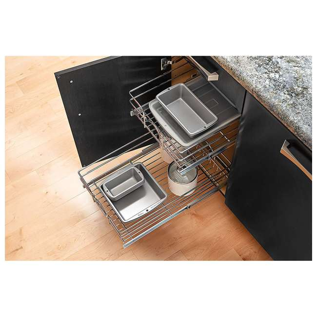 3 x 5WB2-1822-CR Rev-A-Shelf 18 Inch Pull Out 2 Tier Wire Baskets, Plated Chrome (3 Pack) 3