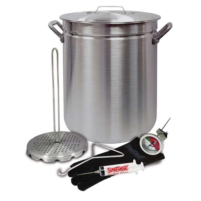 4225-U-A Bayou Classic 42 Quart Aluminum Grand Gobbler Stockpot and Accessories(Open Box)