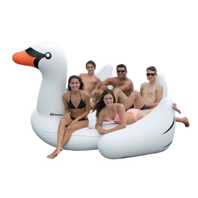 6 x SL-19671-U-A Swimline Giant Swan Inflatable Ride On Pool Float Raft, White (Open Box)(6 Pack)