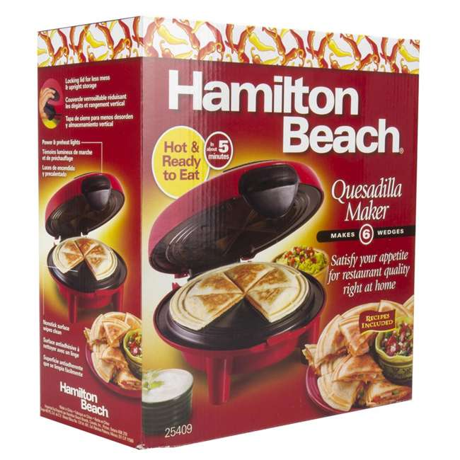 25409 + TOASTER150 Hamilton Beach Quesadilla Maker, Red & Best Toaster Oven 150 Recipes CookBook 6