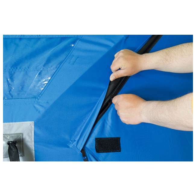 CLAM-14474 Clam 14474 C-360 Portable 6 x 6 Foot Pop Up Ice Fishing Angler Hub Shelter, Blue 3