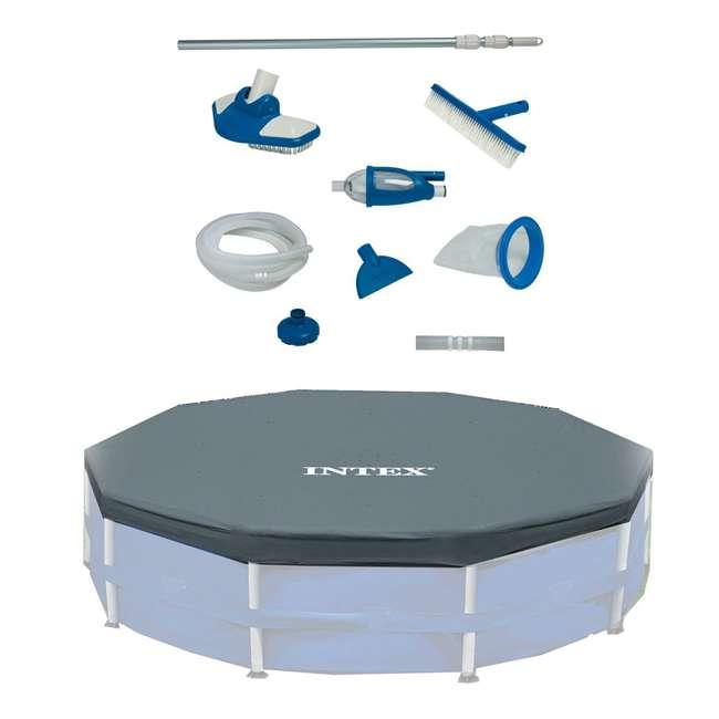 28003E + 28031E Intex Deluxe Maintenance Kit & 12-Foot Round Frame Easy Set Pool Cover