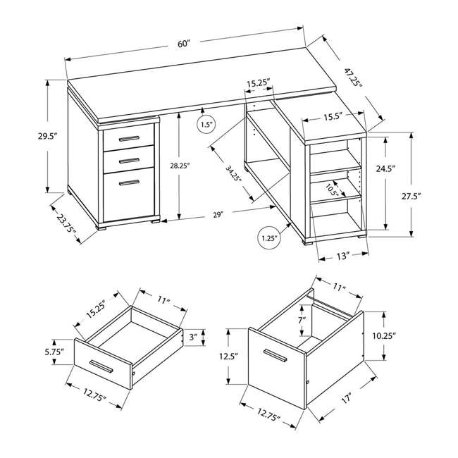 VM-7023-U-A Monarch L Shaped Contemporary Office Computer Desk with Drawers White (Open Box) 1