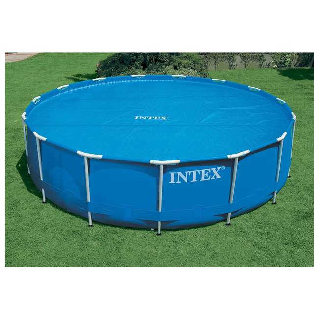 29024E Intex 29024E 16 Foot Above Ground Swimming Pool Solar Cover with Carry Bag, Blue 3