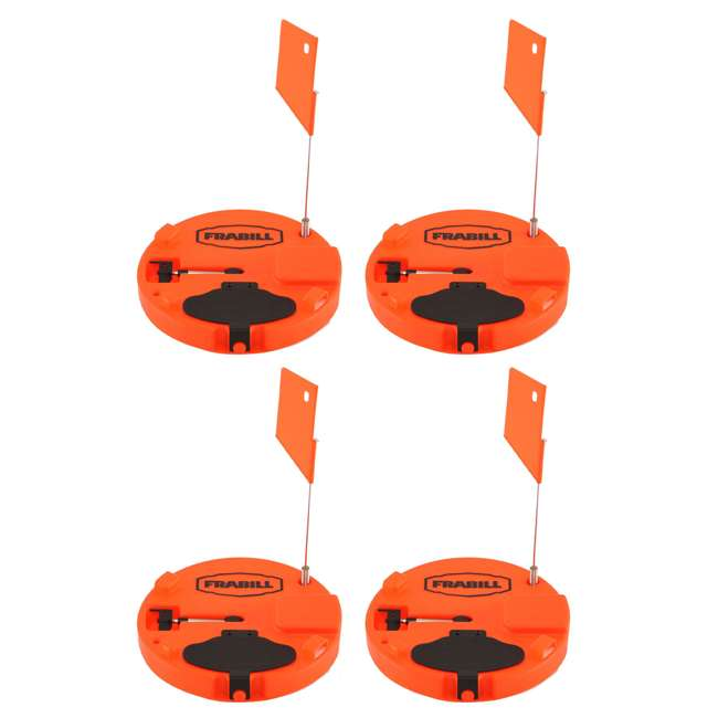 "4 x 1660 Frabill Insulated Ice Fishing Tip Up Trap for Up to 10"" Hole, Orange (4 Pack)"