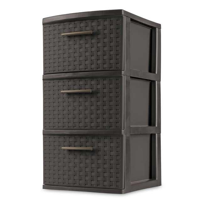 26306P02-U-A Sterilite 3 Drawer Wicker Weave Decorative Storage Tower (Open Box) (2 Pack)