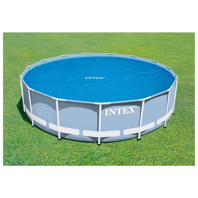 29024E Intex 29024E 16 Foot Above Ground Swimming Pool Solar Cover with Carry Bag, Blue 4