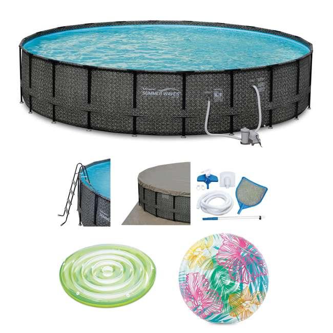 P4A02252B167 + K80002000167 + K80188000167 Summer Waves Elite 22 Ft Above Ground Frame Pool Set w/ Pool Tube Float + Pool Raft