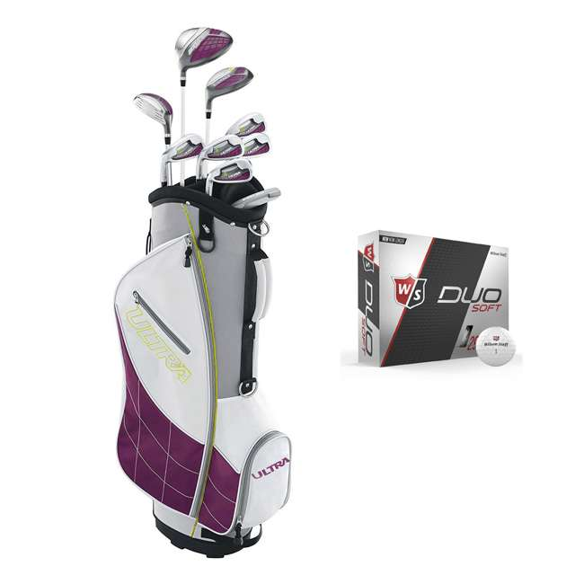 WGGC4340L + WGWP40000 Wilson Ultra Ladies Left-Hand Super Long Golf Club Bag Set & Balls