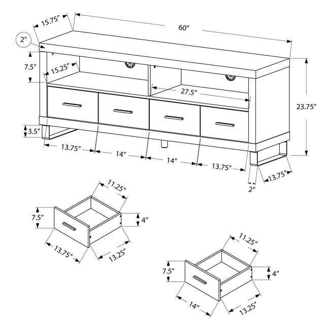 """MS-VM2517-U-B Monarch Specialties 60"""" Entertainment TV Stand w/ 4 Drawers, Dark Taupe (Used) 3"""