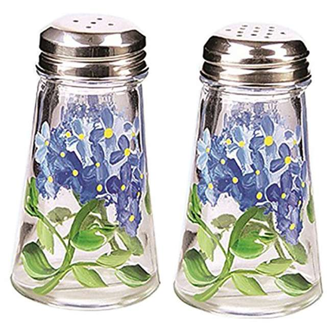 GH-39042 Grant Howard Hand Painted Tapered Salt and Pepper Shaker Set Blue Hydrangeas, Blue