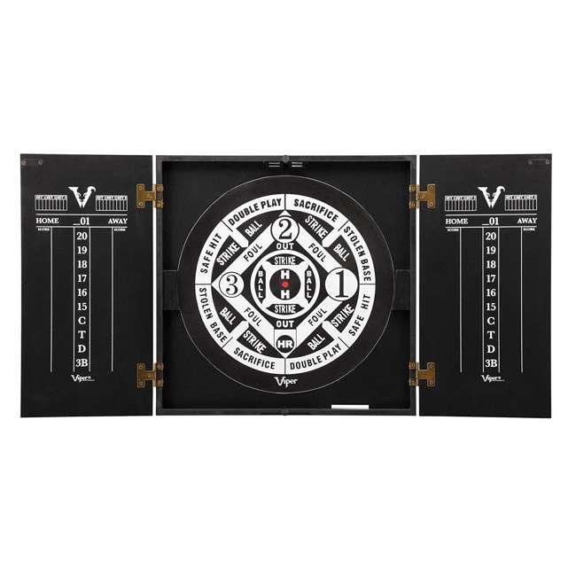 40-0375 Viper Hideaway Steel Tip 2 in 1 Traditional & Baseball Dartboard Cabinet, Black 1