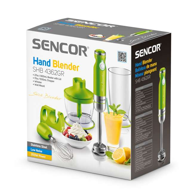 SHB4362GR-NAA1 Sencor Stick Hand Immersion Blender Set with Beaker, Chopper, & Whisk, Green 6
