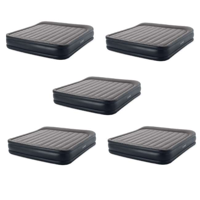 5 x 64137VM Intex Deluxe Pillow Rest Inflatable Air Mattress with Pump, King (5 Pack)