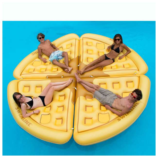SL-90821-U-B Swimline Inflatable Waffle Slice Giant Pool Float Lounger Lake Raft Mat (Used) 1