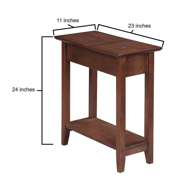 R6-261 Convenience Concepts American Heritage Flip Top Wooden Side End Table, Walnut 3