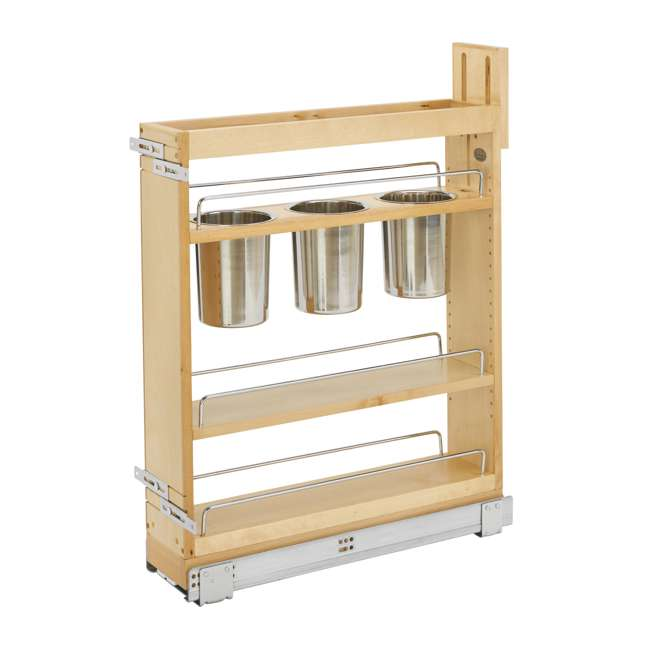"448UT-BCSC-5C-24 Rev-A-Shelf 448UT-BCSC-5C 5"" Shelved Kitchen Utensil Pull Out Cabinet Organizer"
