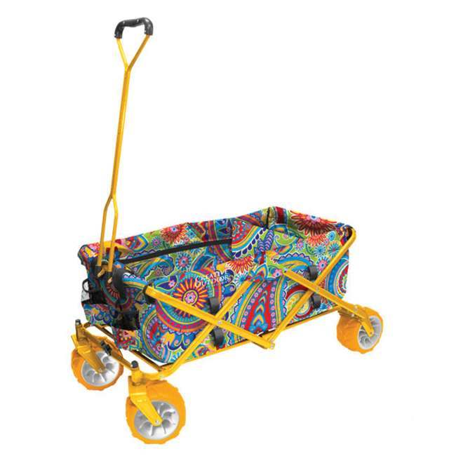 COD-900268-PAISLEY Creative Outdoor All-Terrain Folding Wagon, Paisley/Yellow