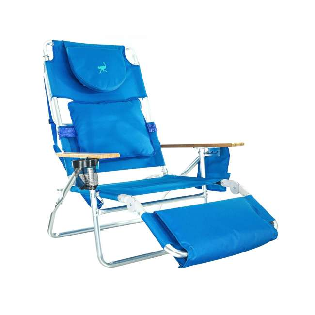 3 x D3N1-1001B Ostrich Deluxe Padded 3-N-1 Outdoor Lounge Reclining Beach Chair, Blue (3 Pack) 1