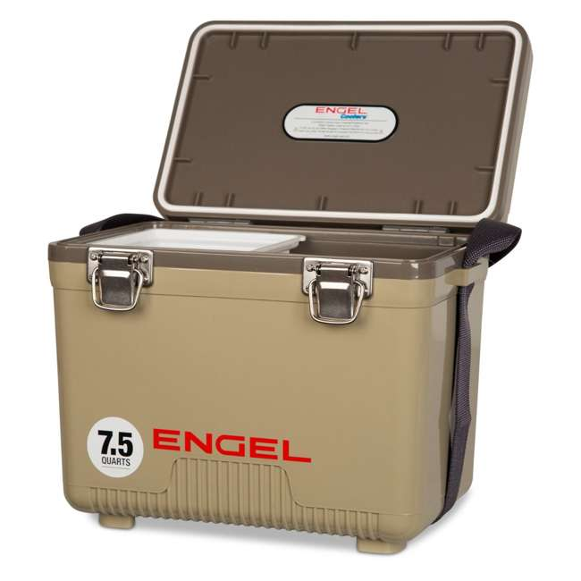 UC7T Engel 7.5-Quart EVA Gasket Seal Ice and DryBox Cooler with Carry Handles, Tan 1