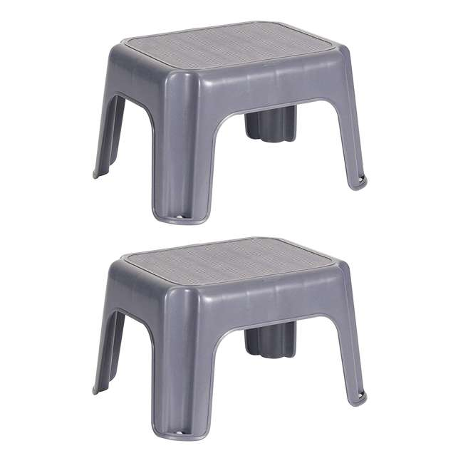 FG275300CYLND Rubbermaid Durable Plastic Step Stool w/ 250-LB Weight Capacity, Gray (2 Pack)