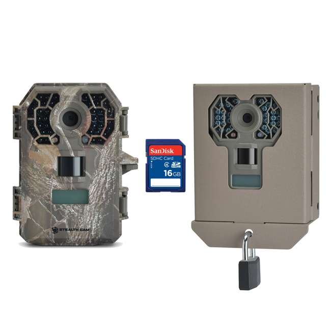 STC-G42NG + STC-BBG + SD4-16GB-SAN Stealth Cam G42NG 10MP HD IR Game Trail Camera with Case & SD Card