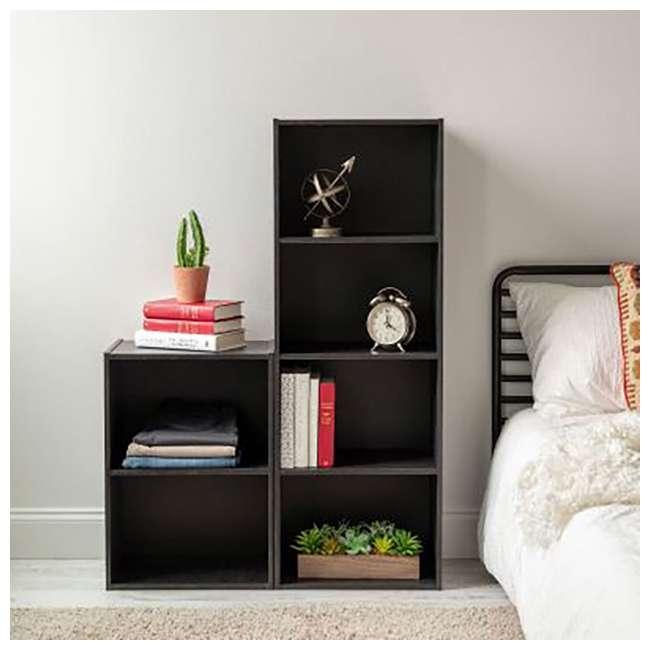 596482 IRIS 4 Tier Tall Freestanding Wood Storage Bookshelf Shelf Shelving Unit, Black 3