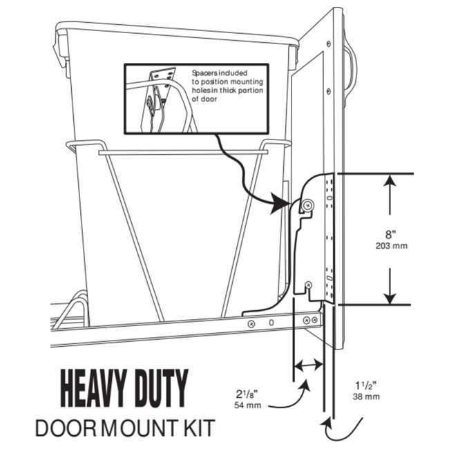 RV DM KIT Rev-A-Shelf RV DM KIT Door Mounting Kit for RV Series Waste Containers, White 3