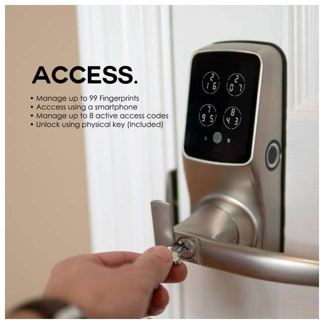 PGD628FSN + PGH200 Lockly Secure Plus Biometric Smart Door Handle Lock, Satin with Door Sensor 5