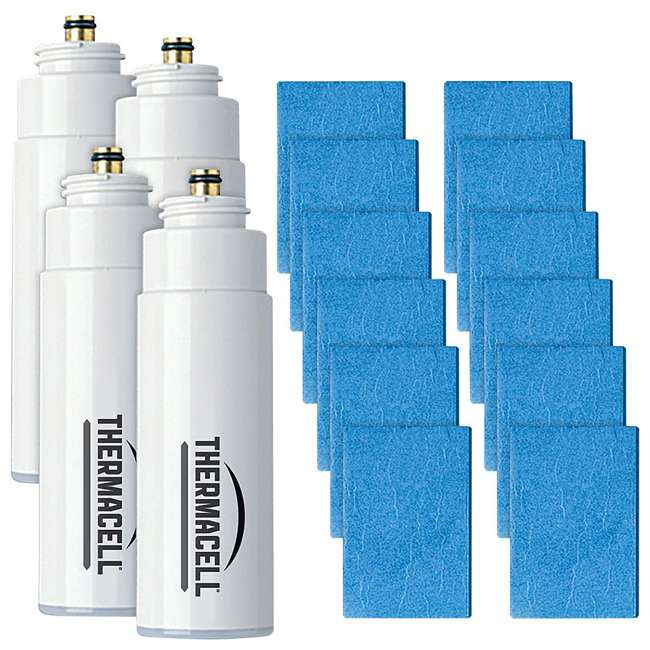 R-4 Thermacell 48-Hour Mosquito Repellent w/ 12 Mats & 4 Fuel Cartridges (2 Pack) 1