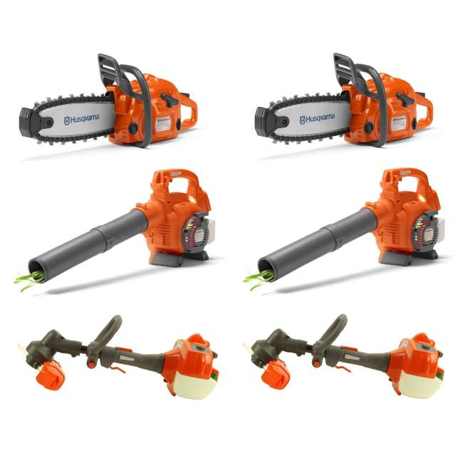 HV-TOY-522771104 + 2 x HV-TOY-589289601 + 2 x HV-T Husqvarna Toy Chainsaw (2-Pack), Leaf Blower(2-Pack) and Lawn Trimmer (2-Pack)