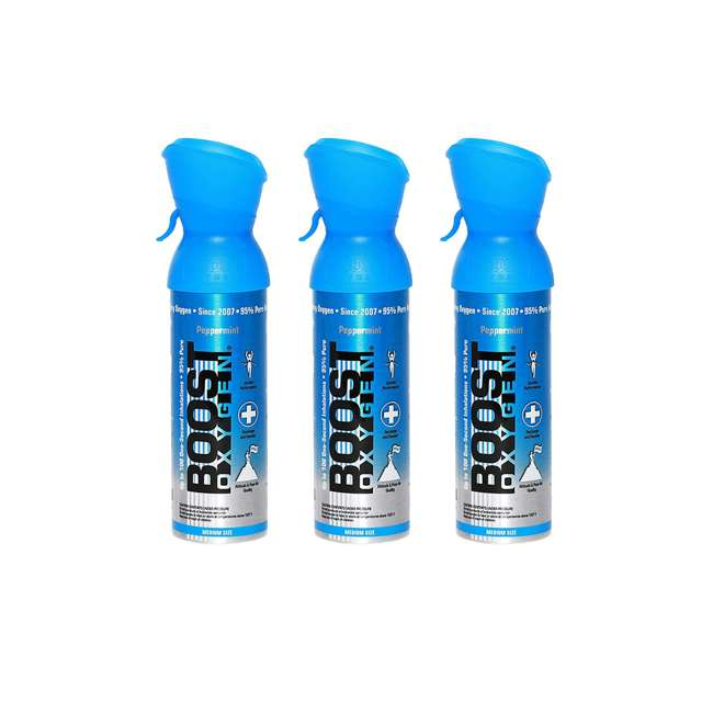 3 x 602-BOOST Boost Oxygen 5-Liter Canned  Oxygen Canister, Peppermint (3 Pack)