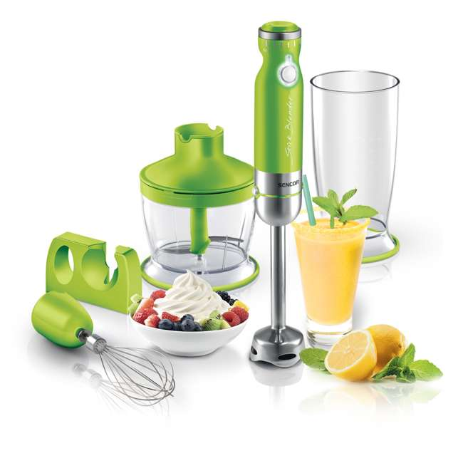 SHB4362GR-NAA1 Sencor Stick Hand Immersion Blender Set with Beaker, Chopper, & Whisk, Green 1