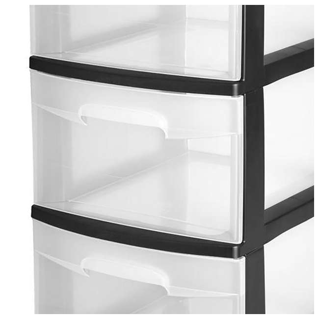 28309002-U-A Sterilite 3-Drawer Storage Cart Clear Drawers Black Frame (Open Box) (2 Pack) 1