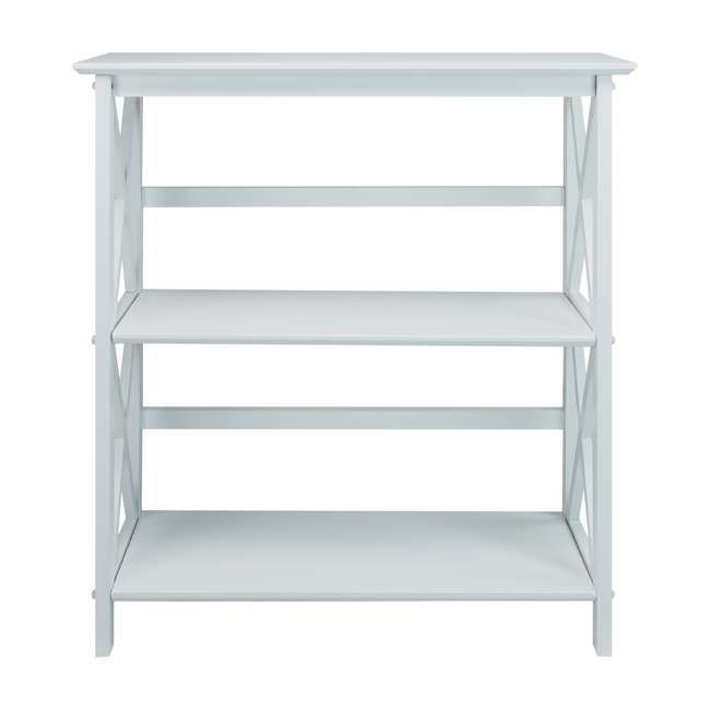 324-31 Casual Home Montego 3 Shelf X Design Folding Stackable Wood Bookcase, White  3