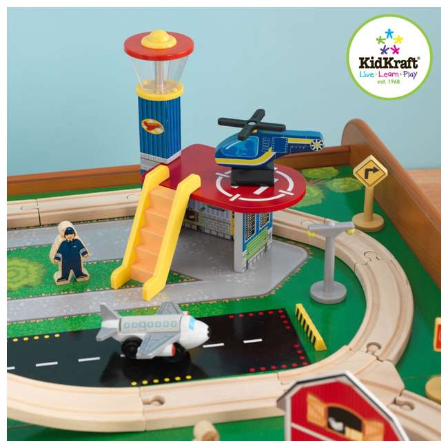KidKraft Ride Around Town Wood Train Table U0026 Toy Set