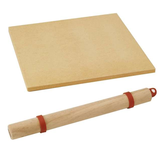 BOPA-24208 + BOPA-24222 Bull 15-Inch Square Pizza Stone, Brown & Rolling Pin