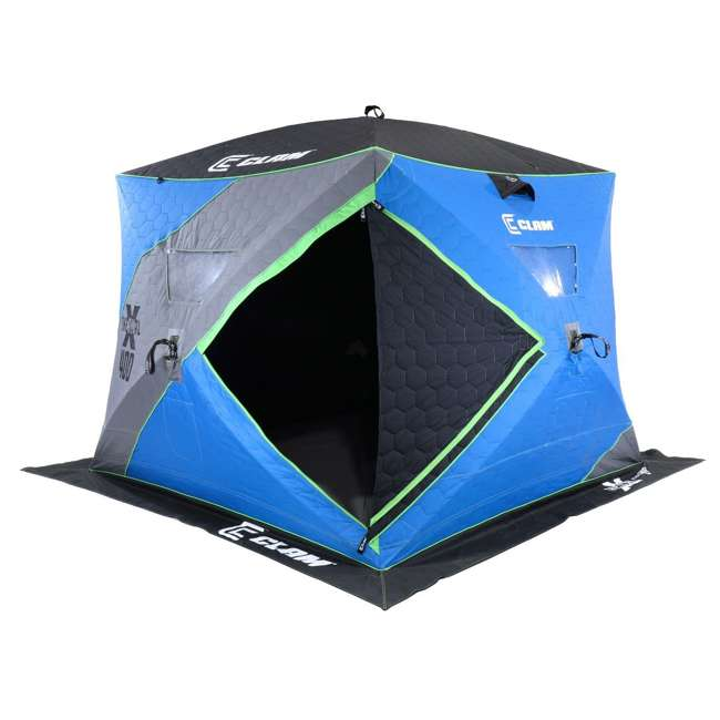 CLAM-14469 Clam X400 Thermal 4-6 Person Outdoor Portable Pop Up Ice Fishing Shelter Tent