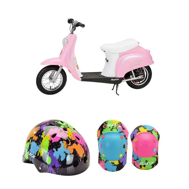 15130610 + 97913 + 96761 Razor Pocket Mod Electric Retro Scooter + Youth Sport Helmet + Elbow & Knee Pads